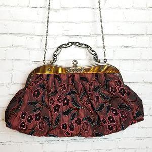 Handbags - Vintage style beaded evening purse w/ long chain